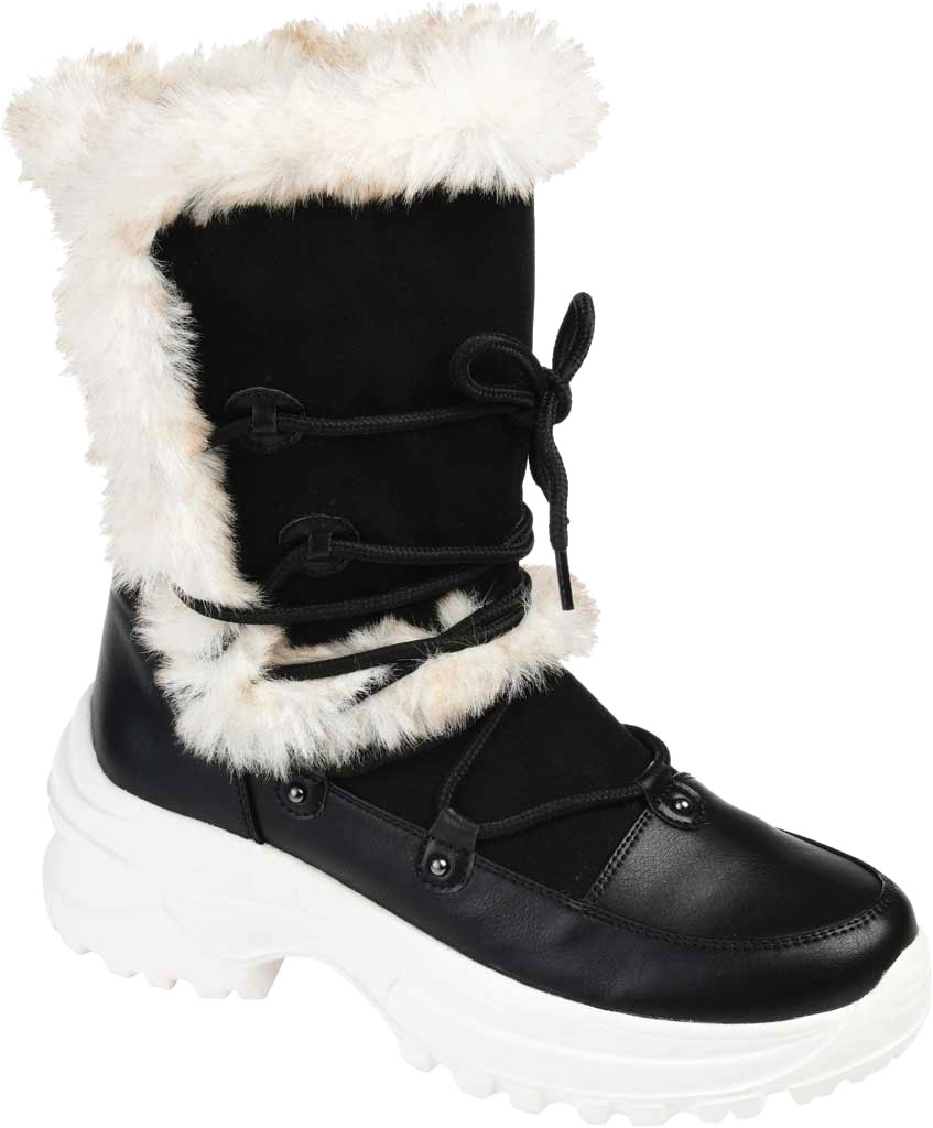 Women's Journee Collection Polar Mid Calf Boot, Black Faux Suede/Faux Leather, large, image 1