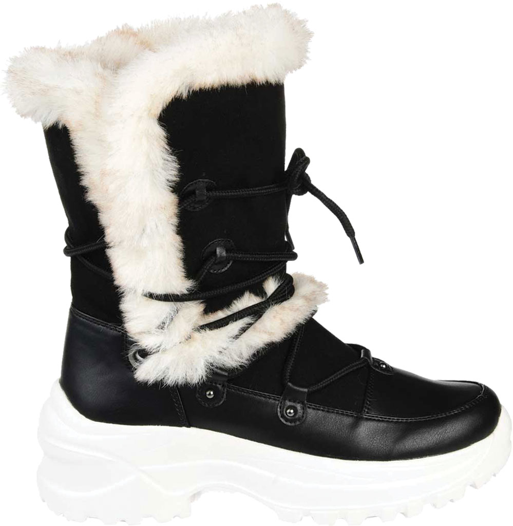 Women's Journee Collection Polar Mid Calf Boot, Black Faux Suede/Faux Leather, large, image 2