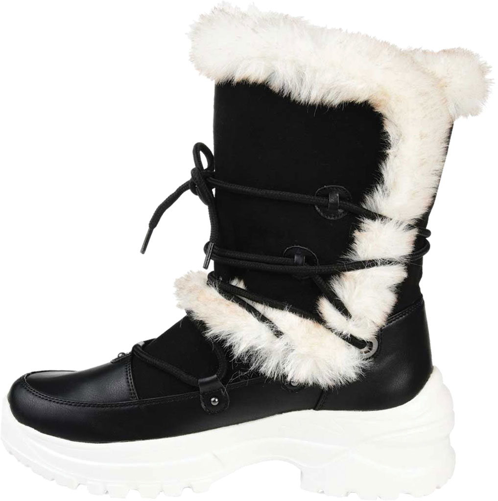 Women's Journee Collection Polar Mid Calf Boot, Black Faux Suede/Faux Leather, large, image 3