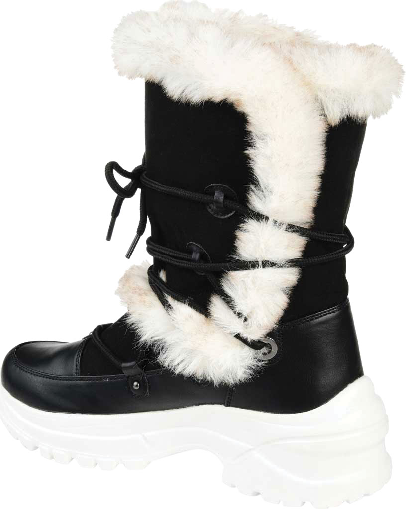 Women's Journee Collection Polar Mid Calf Boot, Black Faux Suede/Faux Leather, large, image 4