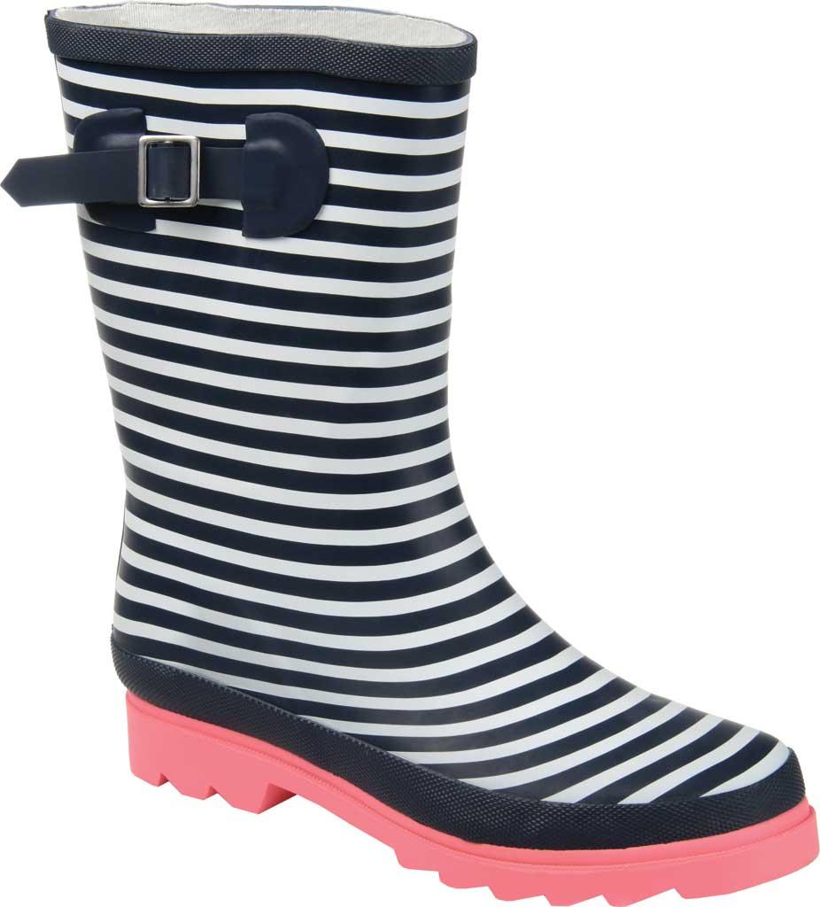 Women's Journee Collection Seattle Mid Calf Rain Boot, Stripe Rubber, large, image 1