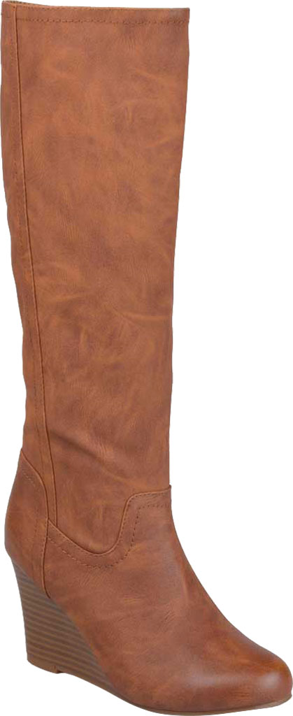 Women's Journee Collection Langly Wedge Heel Knee High Boot, Brown Faux Leather, large, image 1