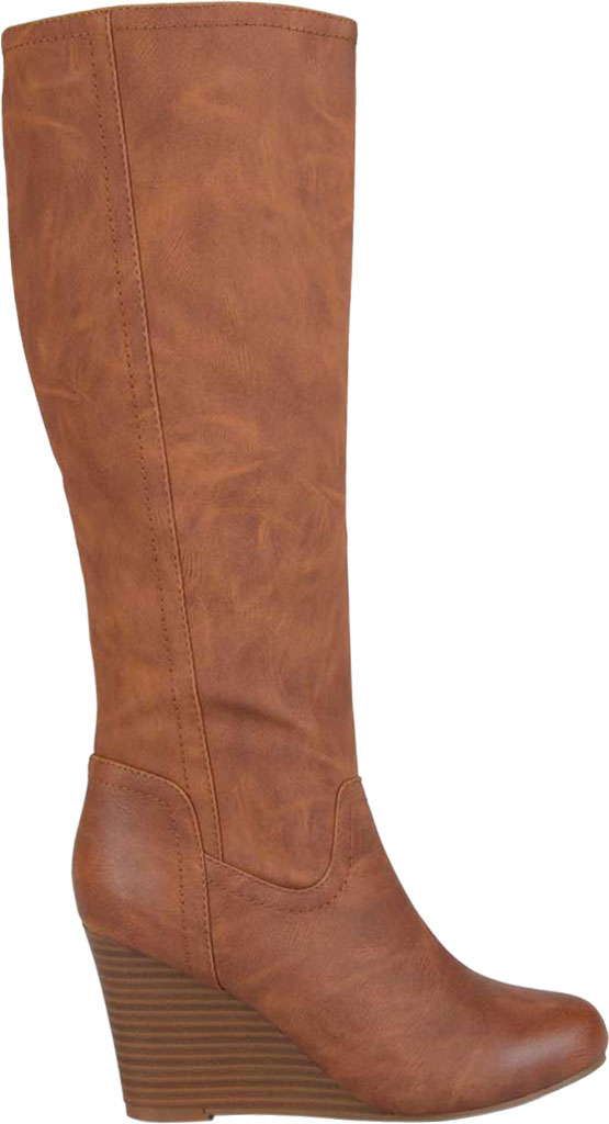 Women's Journee Collection Langly Wedge Heel Knee High Boot, Brown Faux Leather, large, image 2
