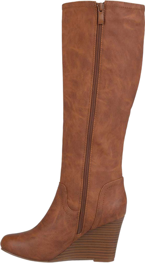 Women's Journee Collection Langly Wedge Heel Knee High Boot, Brown Faux Leather, large, image 3