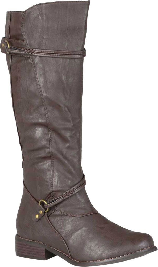 Women's Journee Collection Harley Wide Calf Knee High Boot, Brown Faux Leather, large, image 1