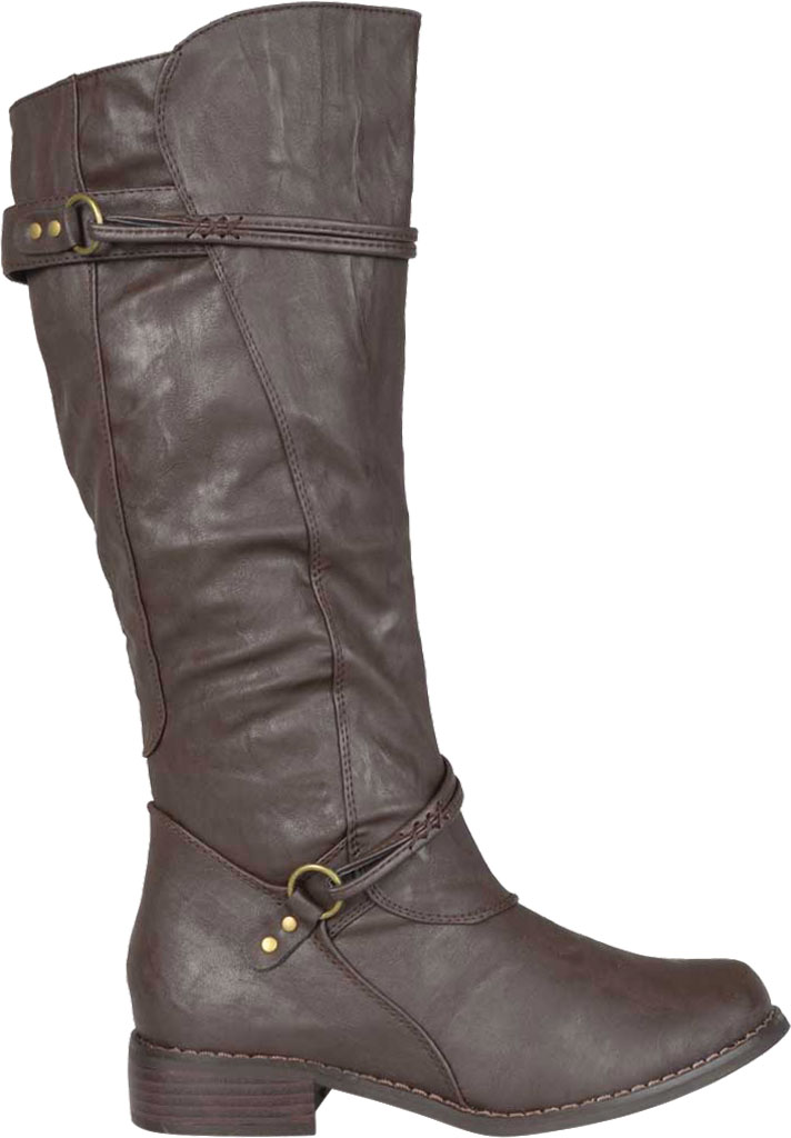 Women's Journee Collection Harley Wide Calf Knee High Boot, Brown Faux Leather, large, image 2