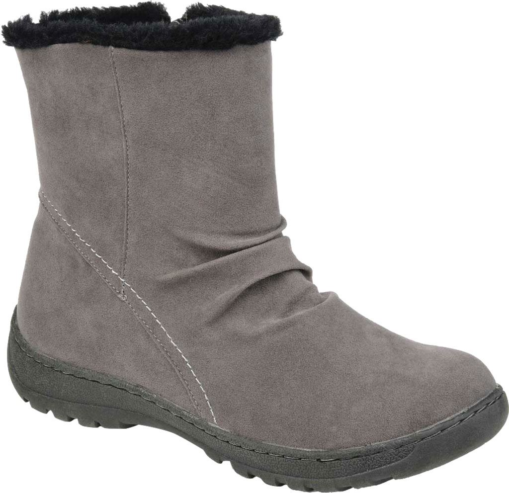 Women's Journee Collection Lodiak Ankle Bootie, Grey Faux Suede, large, image 1