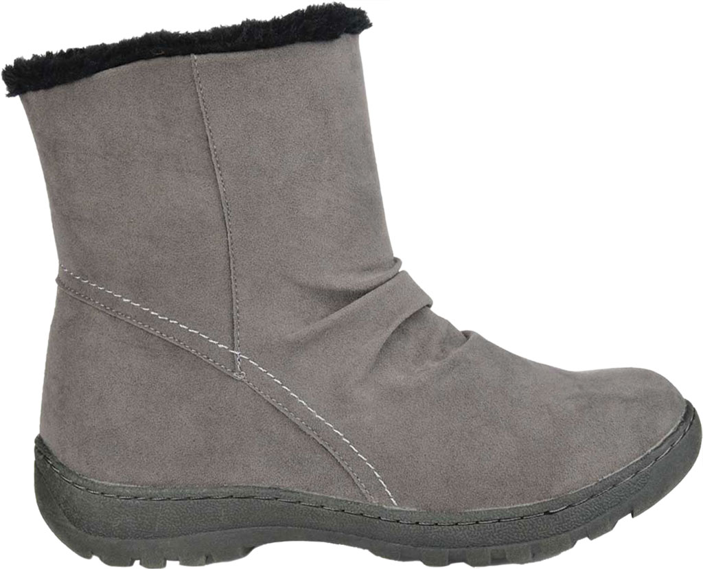 Women's Journee Collection Lodiak Ankle Bootie, Grey Faux Suede, large, image 2
