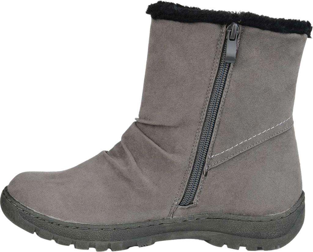 Women's Journee Collection Lodiak Ankle Bootie, Grey Faux Suede, large, image 3