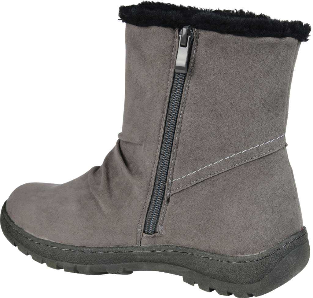Women's Journee Collection Lodiak Ankle Bootie, Grey Faux Suede, large, image 4