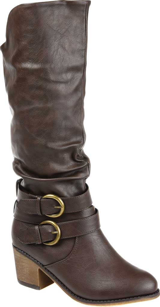 Women's Journee Collection Late Wide Calf Knee High Slouch Boot, Dark Brown Faux Leather, large, image 1