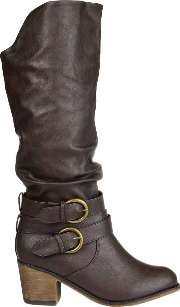 Women's Journee Collection Late Wide Calf Knee High Slouch Boot, Dark Brown Faux Leather, large, image 2