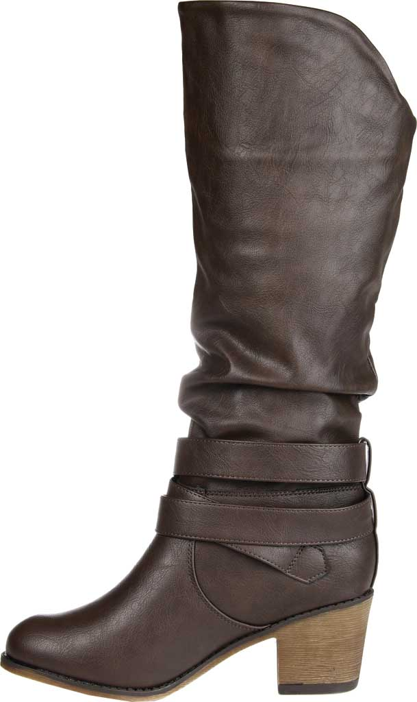 Women's Journee Collection Late Wide Calf Knee High Slouch Boot, Dark Brown Faux Leather, large, image 3