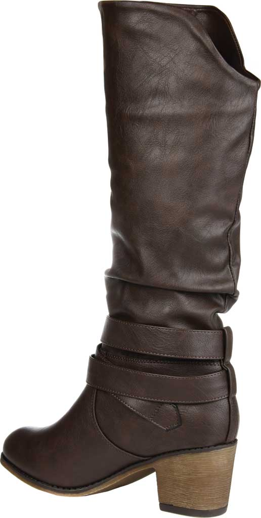 Women's Journee Collection Late Wide Calf Knee High Slouch Boot, Dark Brown Faux Leather, large, image 4