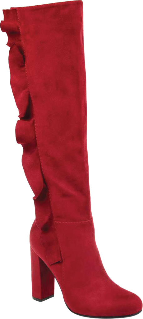 Women's Journee Collection Vivian Extra Wide Calf Knee High Boot, Red Microsuede, large, image 1