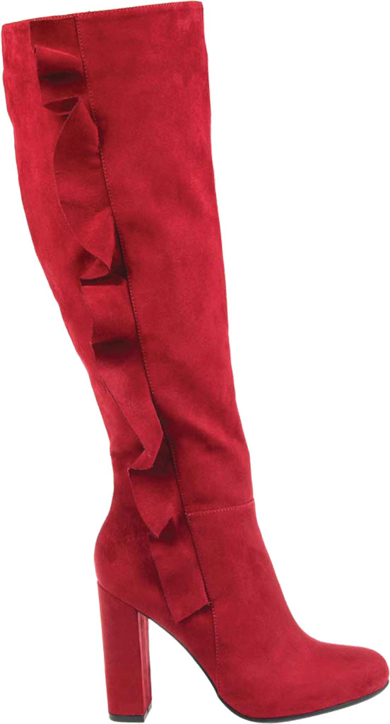 Women's Journee Collection Vivian Extra Wide Calf Knee High Boot, Red Microsuede, large, image 2
