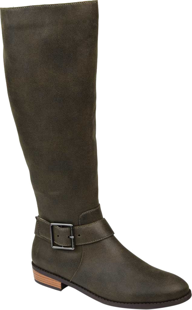 Women's Journee Collection Winona Knee High Boot, Olive Distressed Faux Suede, large, image 1