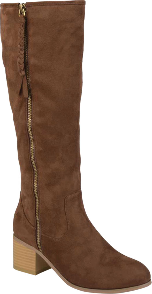Women's Journee Collection Sanora Wide Calf Knee High Boot, Brown Faux Suede, large, image 1