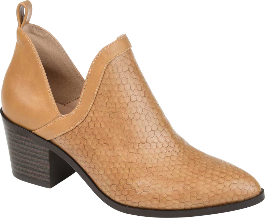 Women's Journee Collection Terri Ankle Bootie, Tan Faux Leather, large, image 1