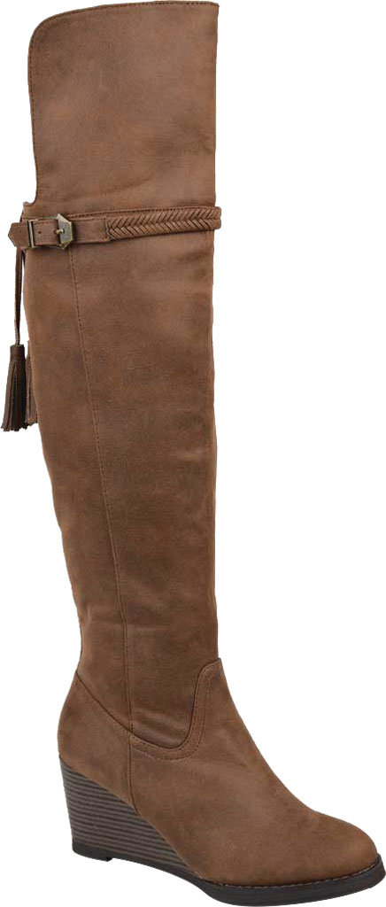 Women's Journee Collection Jezebel Wide Calf Wedge Over The Knee Boot, Brown Faux Suede, large, image 1