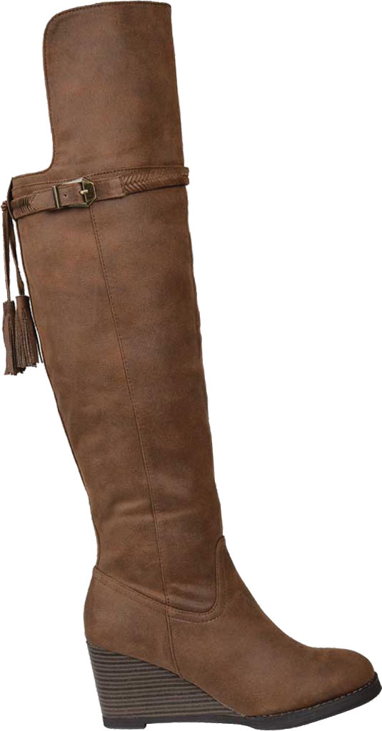 Women's Journee Collection Jezebel Wide Calf Wedge Over The Knee Boot, Brown Faux Suede, large, image 2