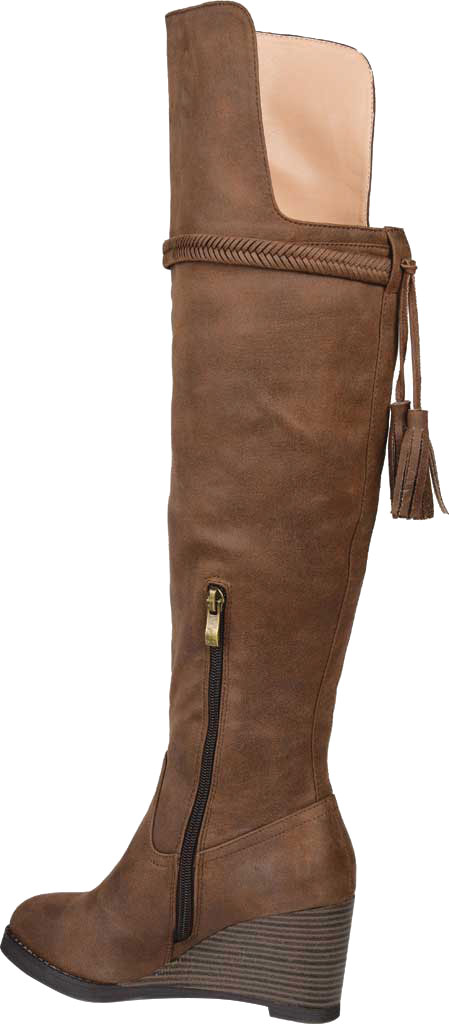 Women's Journee Collection Jezebel Wide Calf Wedge Over The Knee Boot, Brown Faux Suede, large, image 4