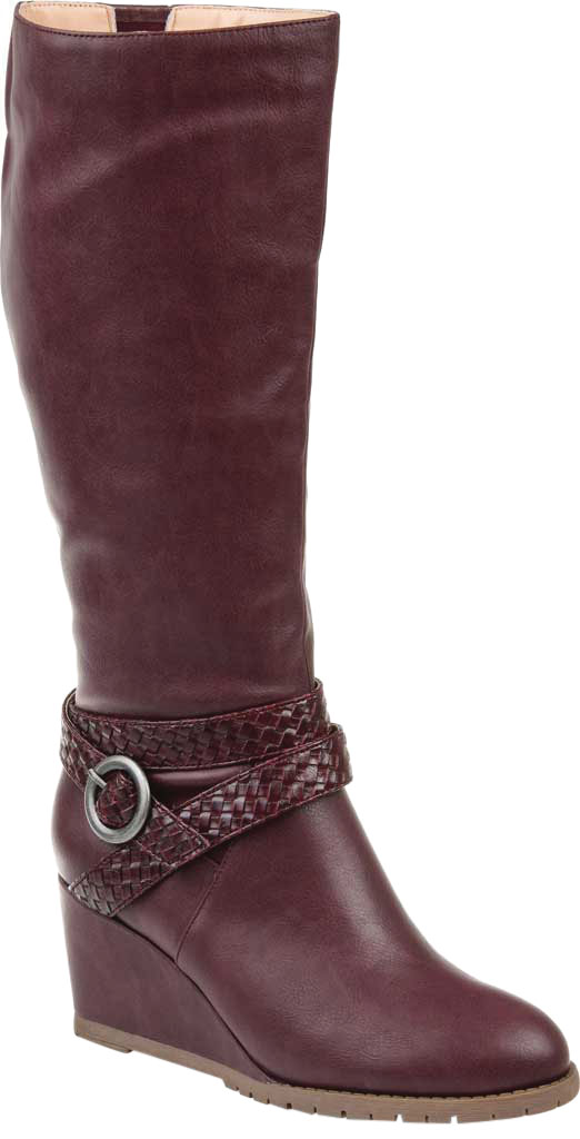 Women's Journee Collection Garin Wide Calf Wedge Knee High Boot, Wine Faux Leather, large, image 1