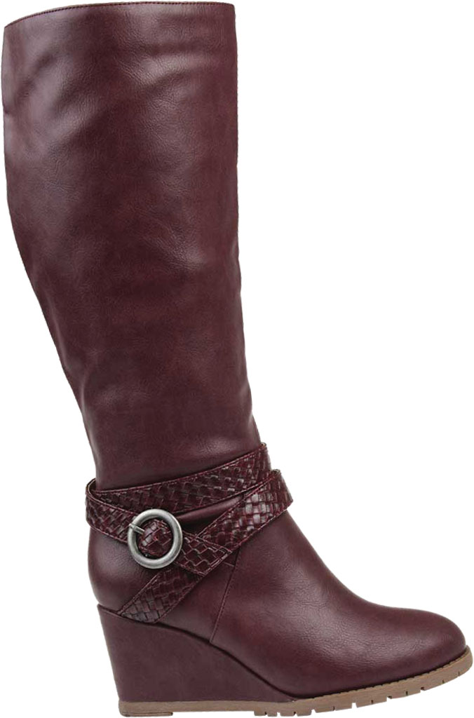 Women's Journee Collection Garin Wide Calf Wedge Knee High Boot, Wine Faux Leather, large, image 2