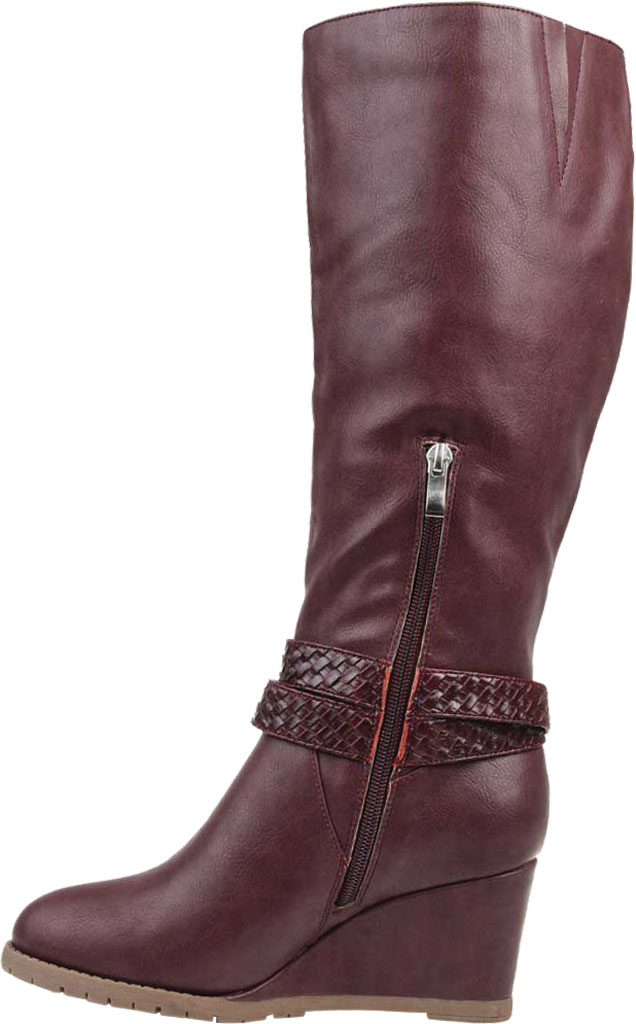 Women's Journee Collection Garin Wide Calf Wedge Knee High Boot, Wine Faux Leather, large, image 3