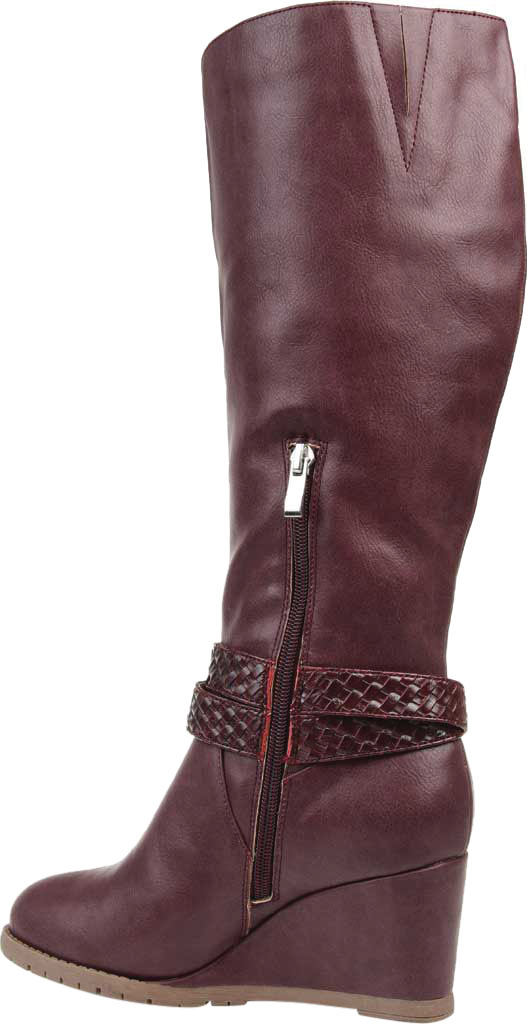Women's Journee Collection Garin Wide Calf Wedge Knee High Boot, Wine Faux Leather, large, image 4