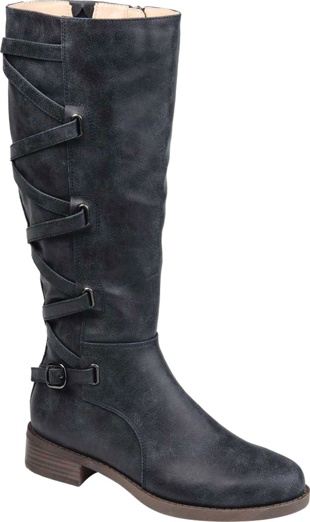 Women's Journee Collection Carly Extra Wide Calf Knee High Boot, Navy Faux Leather, large, image 1