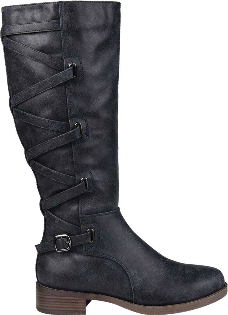 Women's Journee Collection Carly Extra Wide Calf Knee High Boot, Navy Faux Leather, large, image 2