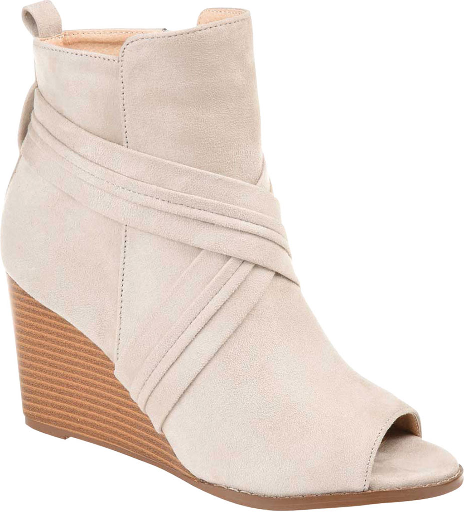 Women's Journee Collection Sabeena Open Toe Wedge Heel Bootie, Taupe Faux Suede, large, image 1