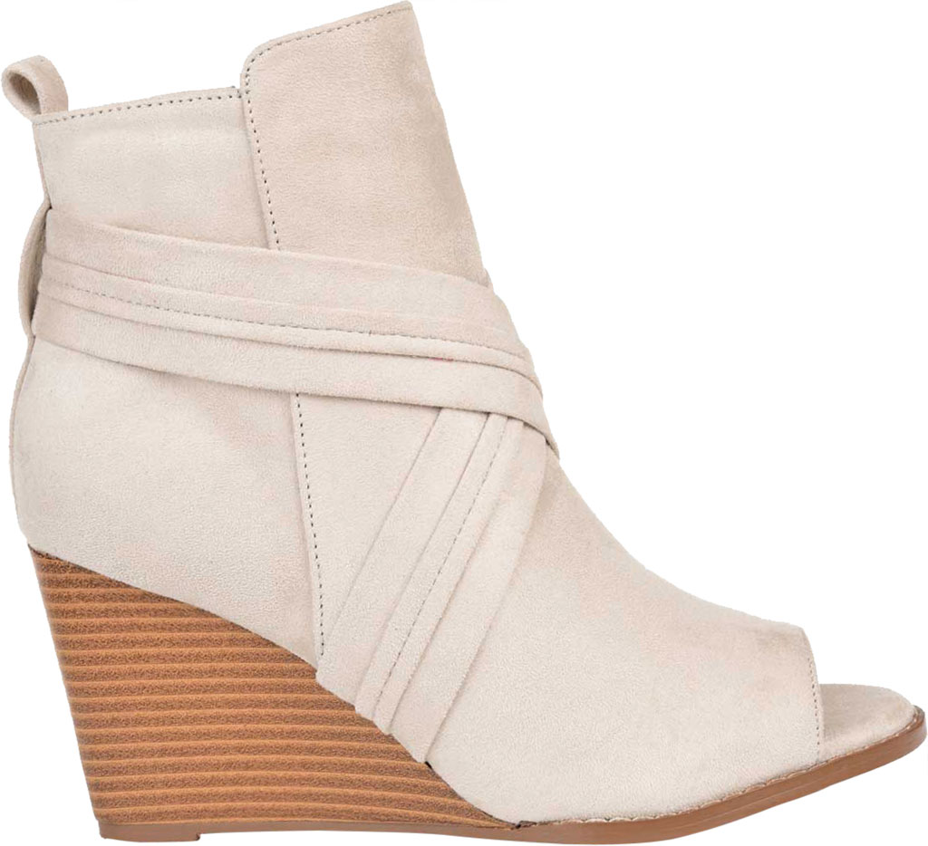Women's Journee Collection Sabeena Open Toe Wedge Heel Bootie, Taupe Faux Suede, large, image 2
