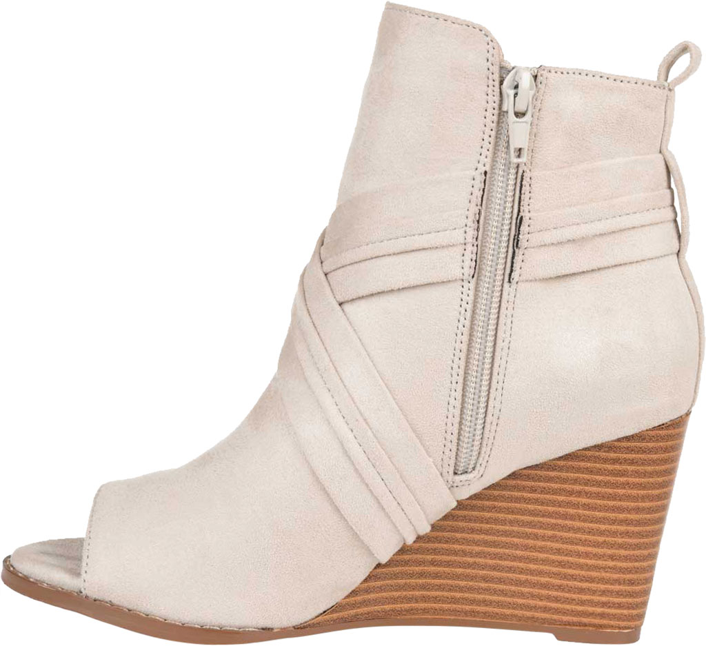 Women's Journee Collection Sabeena Open Toe Wedge Heel Bootie, Taupe Faux Suede, large, image 3
