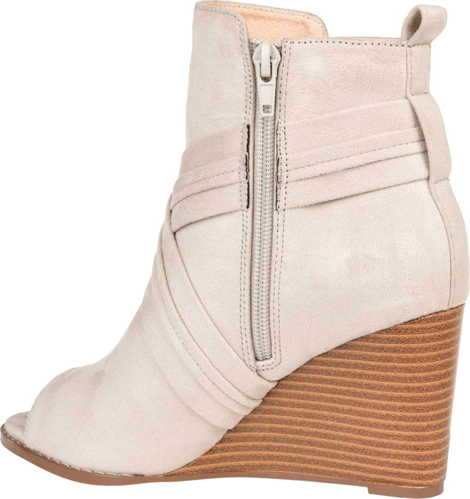 Women's Journee Collection Sabeena Open Toe Wedge Heel Bootie, Taupe Faux Suede, large, image 4