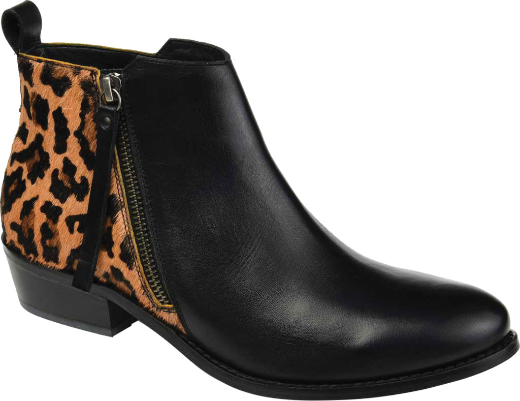 Women's Journee Collection Shalece Ankle Bootie, Black Leather, large, image 1