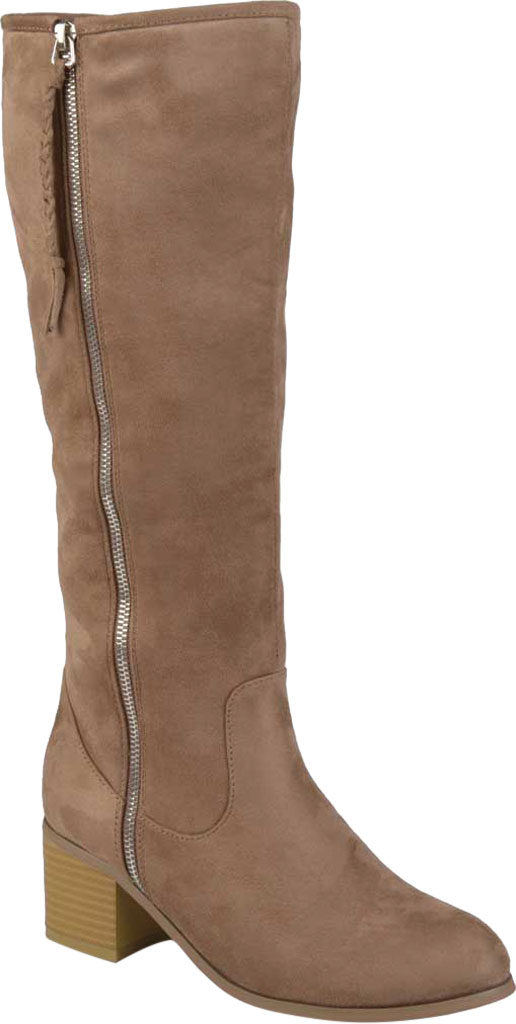 Women's Journee Collection Sanora Knee High Boot, Taupe Faux Suede, large, image 1