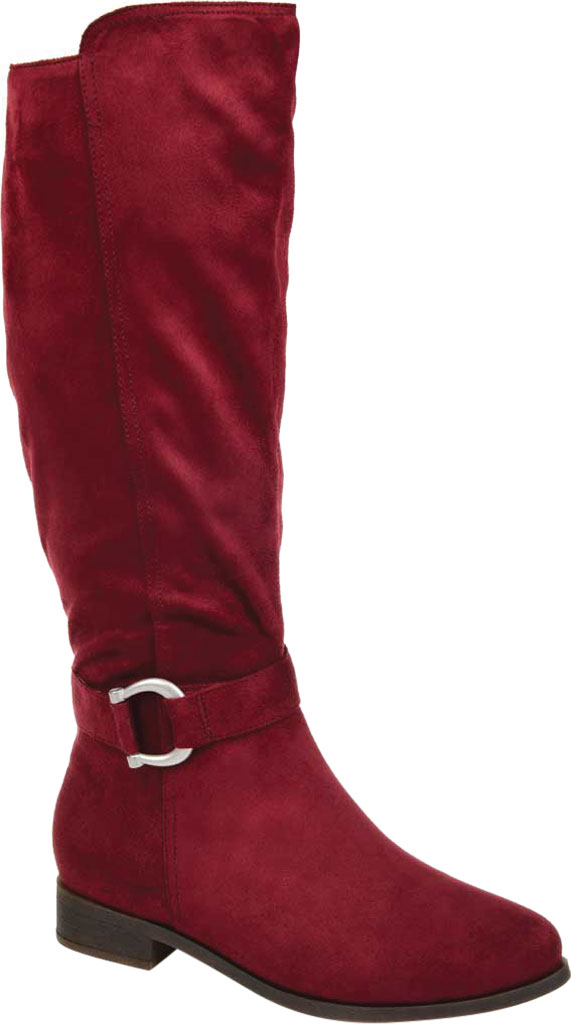 Women's Journee Collection Cate Extra Wide Calf Knee High Boot, Wine Faux Suede, large, image 1
