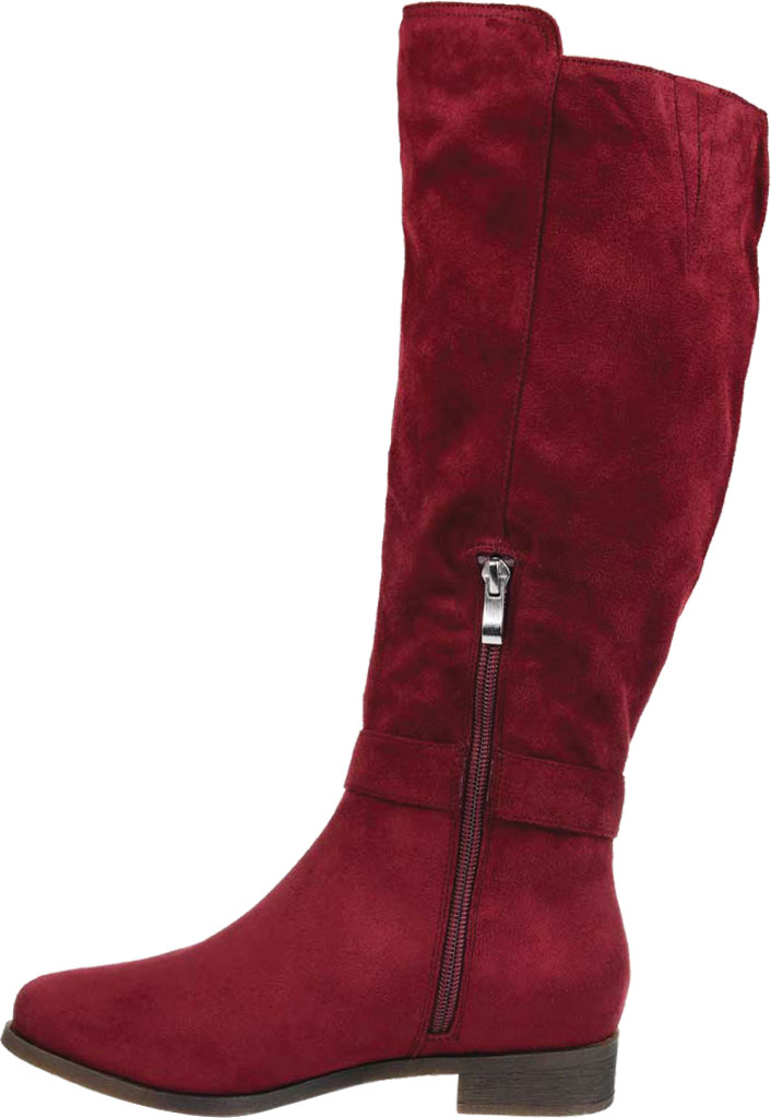 Women's Journee Collection Cate Extra Wide Calf Knee High Boot, Wine Faux Suede, large, image 3