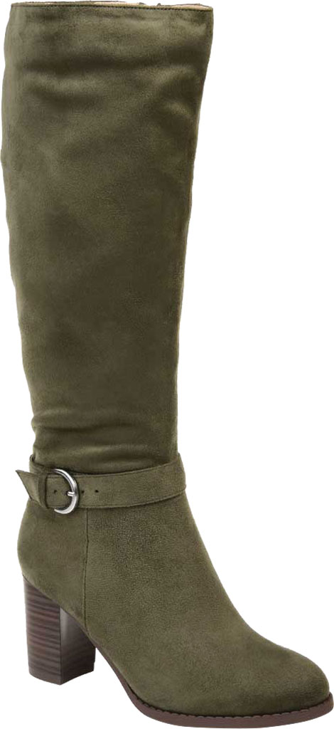 Women's Journee Collection Joelle Extra Wide Calf Knee High Boot, Olive Microsuede, large, image 1