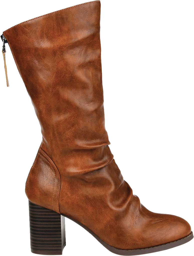 Women's Journee Collection Sequoia Mid Calf Slouch Boot, Brown Faux Leather, large, image 2