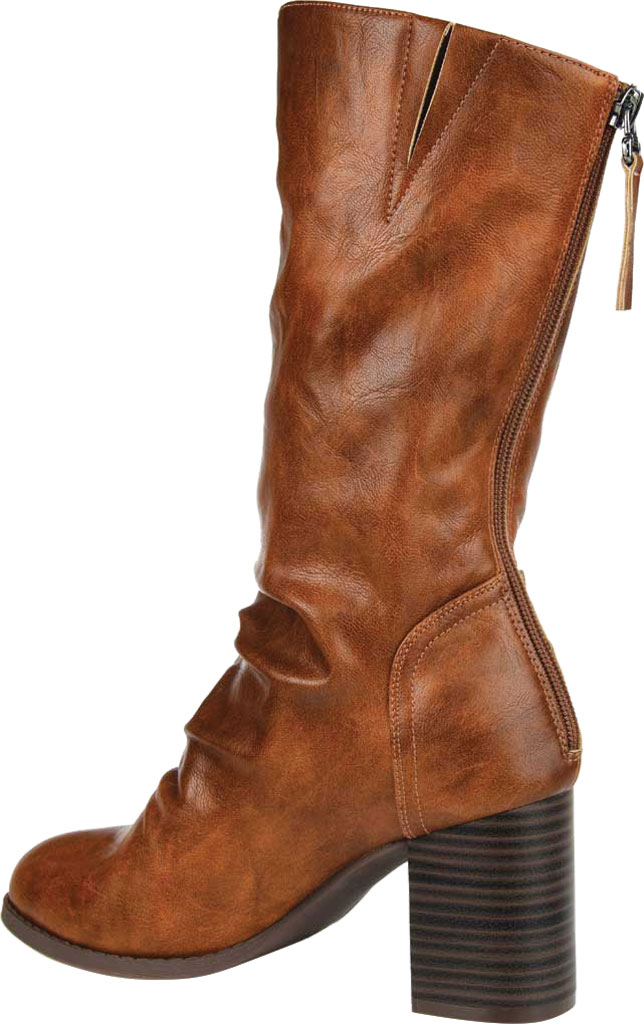 Women's Journee Collection Sequoia Mid Calf Slouch Boot, Brown Faux Leather, large, image 4