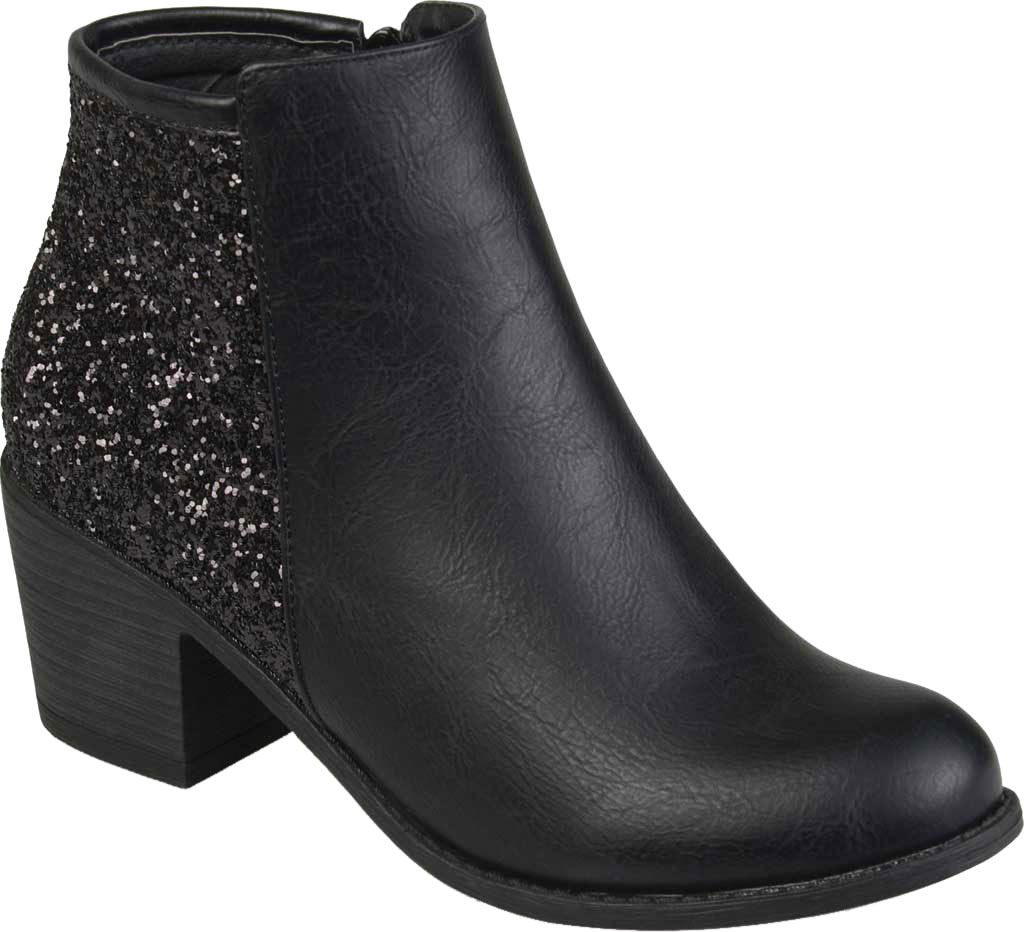 Women's Journee Collection Noble Glitter Ankle Bootie, Black Manmade, large, image 1