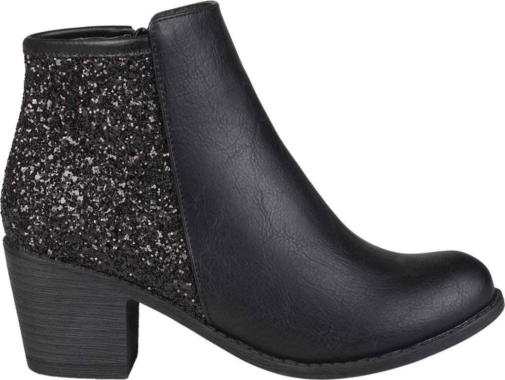 Women's Journee Collection Noble Glitter Ankle Bootie, Black Manmade, large, image 2