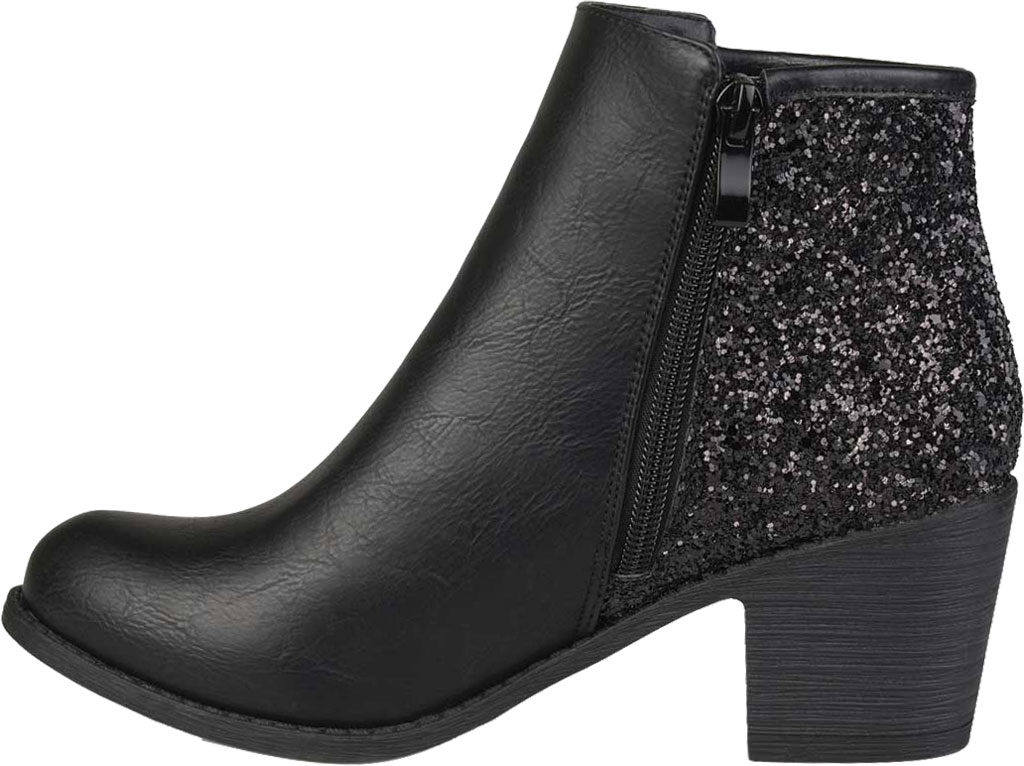 Women's Journee Collection Noble Glitter Ankle Bootie, Black Manmade, large, image 3