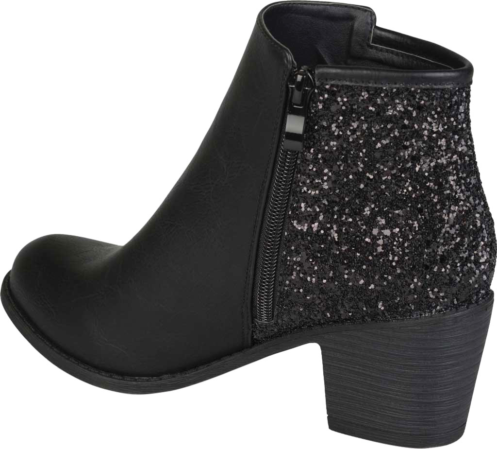Women's Journee Collection Noble Glitter Ankle Bootie, Black Manmade, large, image 4