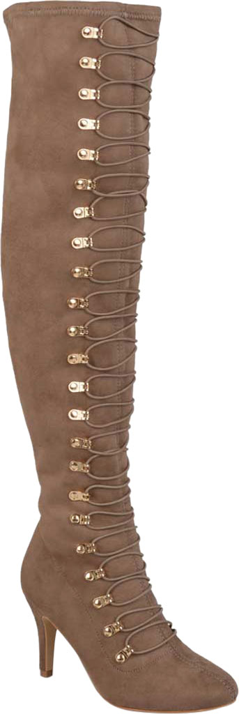 Women's Journee Collection Trill Wide Calf Over The Knee Boot, Taupe Faux Suede, large, image 1