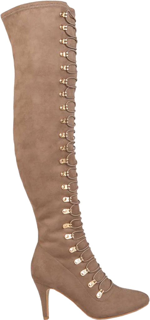Women's Journee Collection Trill Wide Calf Over The Knee Boot, Taupe Faux Suede, large, image 2