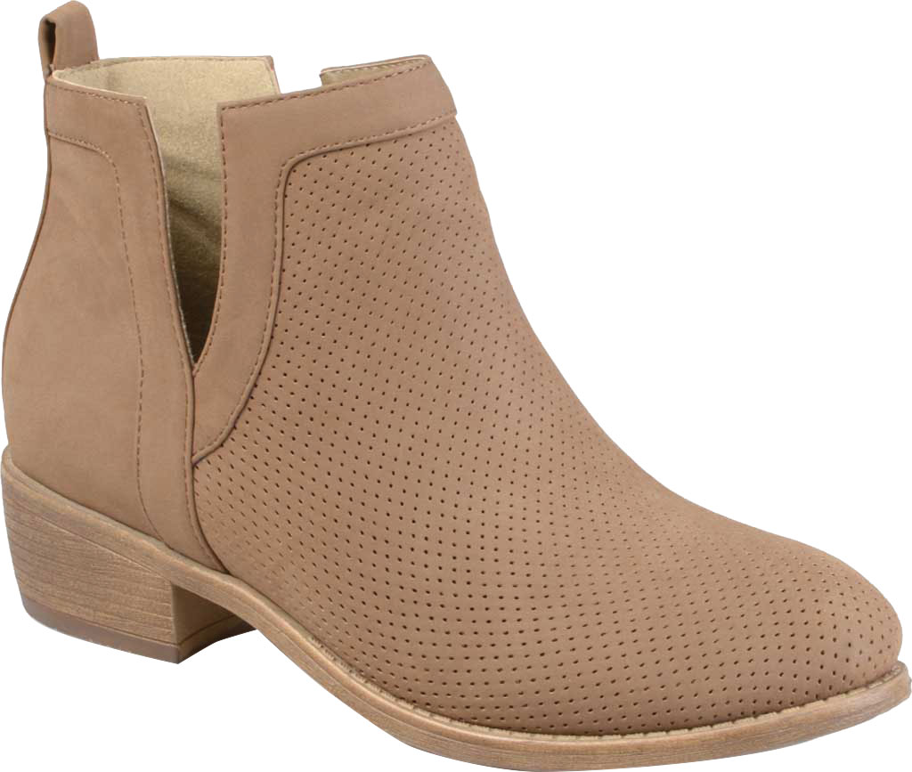 Women's Journee Collection Lainee Ankle Bootie, Taupe Faux Leather, large, image 1